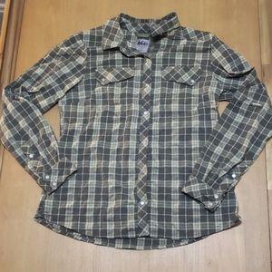 REI womens northway plaid long sleeve shirt Medium